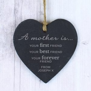 Personalised 'A Mother Is' Slate Heart Decoration