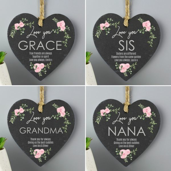 Personalised Abstract Rose Slate Heart