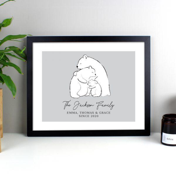 Personalised Polar Bear Family Black Framed Print