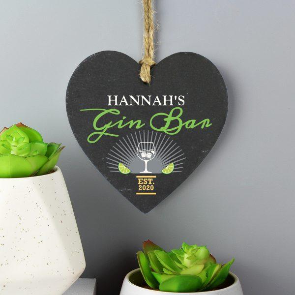 Personalised Gin Bar Slate Heart Decoration