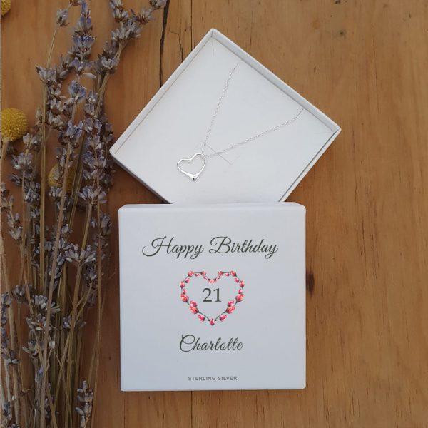 Floral Happy Birthday Heart Pendant
