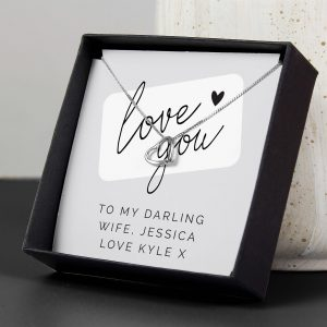 Personalised Love you Silver Tone Necklace and Box