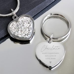 Personalised Name and Message Heart Keyring
