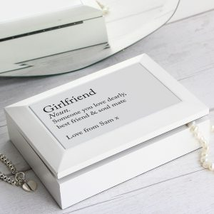 Personalised Definition White Wooden Jewellery Box