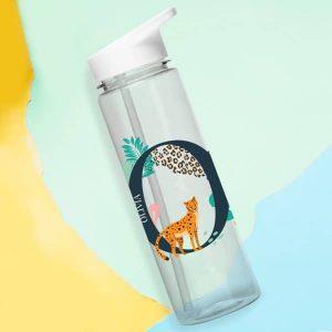 Leopard Initial Water Bottle