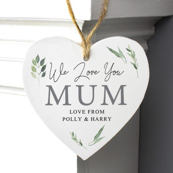 Personalised Botanical Wooden Heart Decoration
