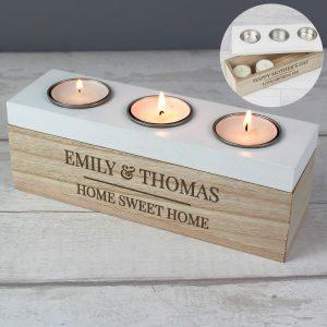 Personalised Classic Triple Tea Light Box