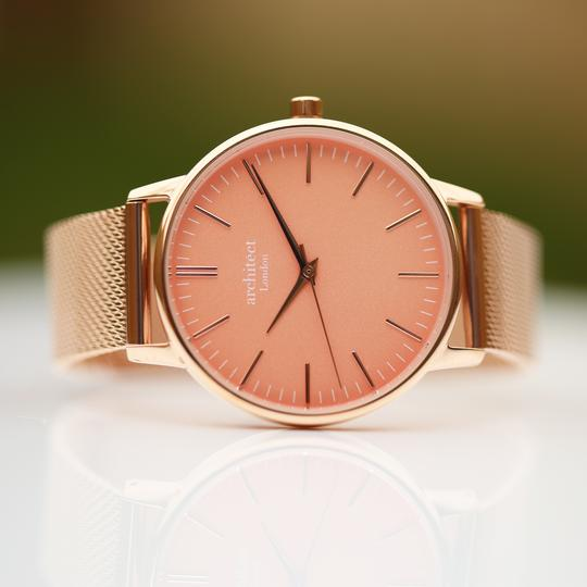 Ladies Architēct Coral Watch with a Rose Gold Strap