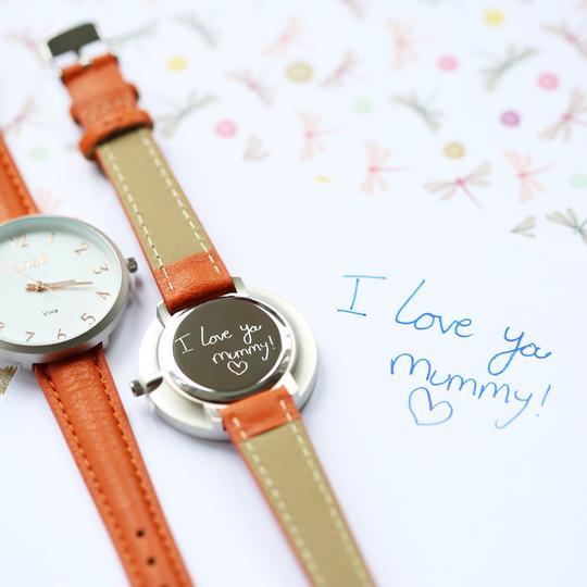 Anaii Watch Handwriting Engraving Blush Red