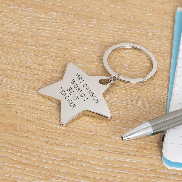 Star Key Ring - Worlds Best Teacher