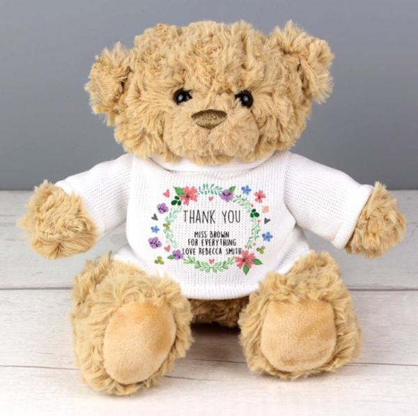 Personalised Floral Teddy Bear