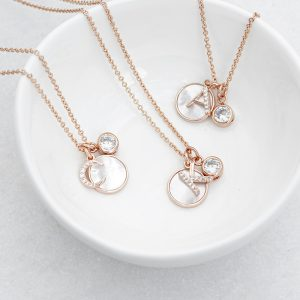 Rose Gold Initial Necklace with Mother of Pearl & Crystal