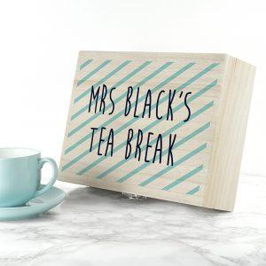 Personalised Teachers Tea Break Box Stripes Design