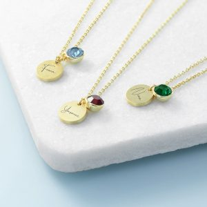 Personalised Gold Birthstone Crystal and Disc
