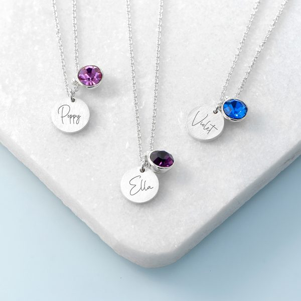 Personalised Silver Birthstone Crystal and Disc