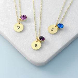 Personalised Monogram Gold Birthstone Crystal and Disc