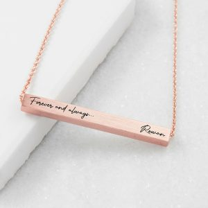 Personalised Forever and Always Horizontal Bar Necklace